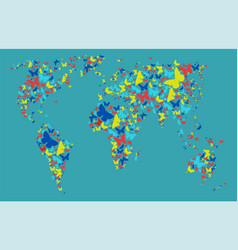 world map colored butterflies graphics vector image