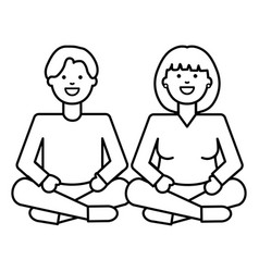 Young lovers couple with lotus position characters vector