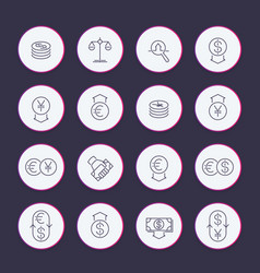 currency line icons set vector image