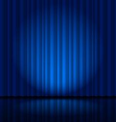 Fragment dark blue stage curtain vector image