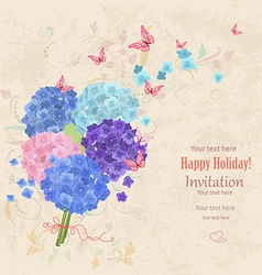 lovely bouquet of blue and pink hortensia with vector image vector image