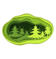 paper art carving of forest landscape vector image
