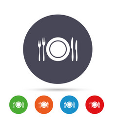plate dish with forks and knifes vector image
