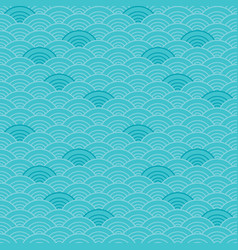 scallop seamless pattern waves blue teal vector image vector image