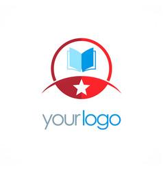 star open book education logo vector image vector image