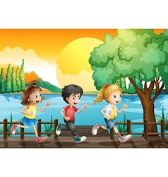 Three kids running at the port vector image