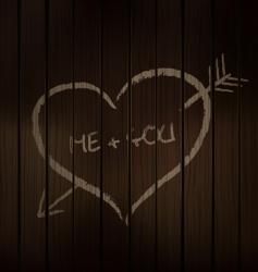 wood chalk heart vector image vector image