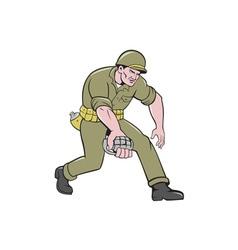 World War Two Soldier American Grenade Cartoon vector image vector image