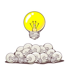 yellow big lightbulb above pile of small vector image vector image