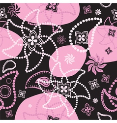 bright seamless decorative floral texture at black vector image vector image