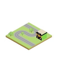 Isometric country road with cafe vector image