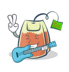 tea bag character cartoon art with guitar vector image vector image