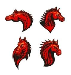Angry flaming horse mascot set vector image vector image