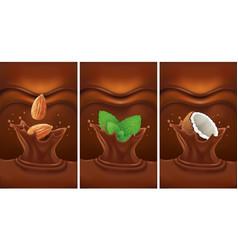 Chocolate splash with almond mint coconut vector