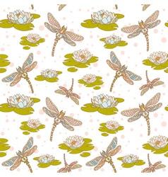 Dragonfly lotus seamless big vector image
