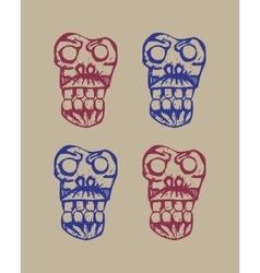 human skulls sketch vector image vector image
