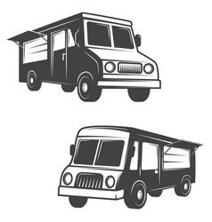 set of food trucks isolated on white background vector image vector image