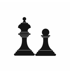 Chess king and chess pawn icon simple style vector image