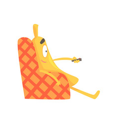 cute funny banana sitting on armchair and watching vector image