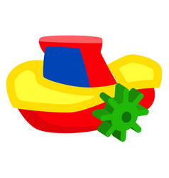 plastic colorful winded up toy ship isolated vector image vector image