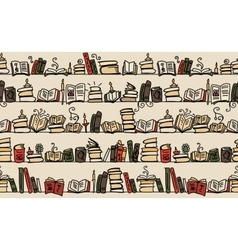 Seamless pattern with books on bookshelves sketch vector image vector image