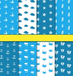 Set Seamless Pattern with Nautical Elements vector image vector image