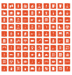 100 cleaning icons set grunge orange vector image vector image