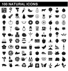 100 natural icons set simple style vector