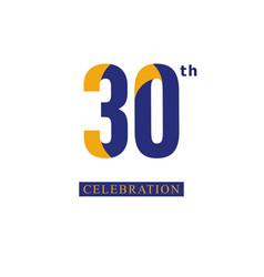 30 th anniversary celebration orange blue vector