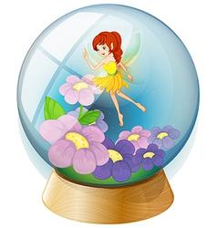 A flower fairy inside the crystal ball vector image