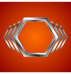 Abstract metal hexagon and arrows shape vector image