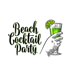 Alcohol green cocktail with slise lime vintage vector