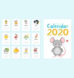 Annual calendar set vector
