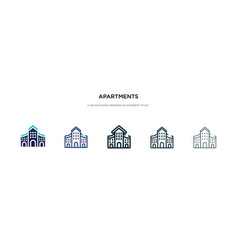 Apartments icon in different style two colored vector
