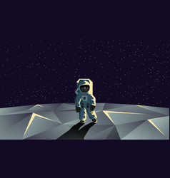 Astronaut on the polygonal moon surface vector