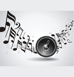 Background with audio speake and music notes vector