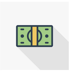 banking money bundle dollar banknotes thin line vector image