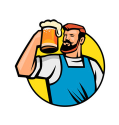 Bearded hipster toasting beer mug circle mascot vector