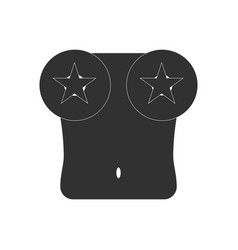 Black icon on white background boobs and stars vector