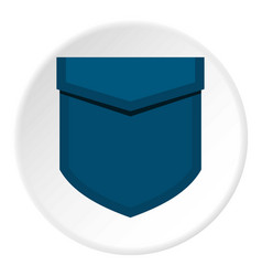 Blue pocket with valve icon circle vector