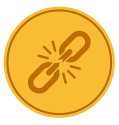 Break chain link gold coin vector