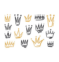 Bundle of drawings of crowns or coronets for king vector