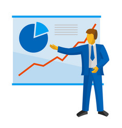Businessman in suit shows a poster with charts vector