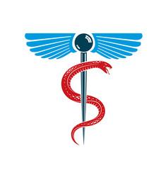 caduceus medical symbol graphic emblem created vector image