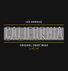 California t-shirt design with slogan from 3d line vector
