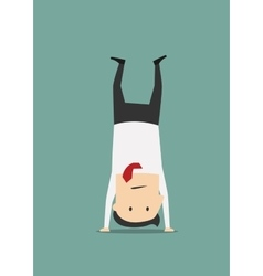 Cheerful businessman standing on his head vector