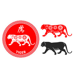 chinese zodiac symbol tiger vector image