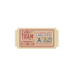 city transport single ticket on one trip on tram vector image