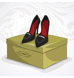 Classic womans leather black shoes vector image