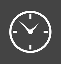 clock icon flat design on grey background vector image